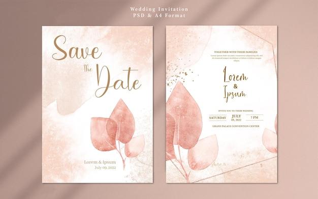 Convite de casamento com flor de ouro rosa