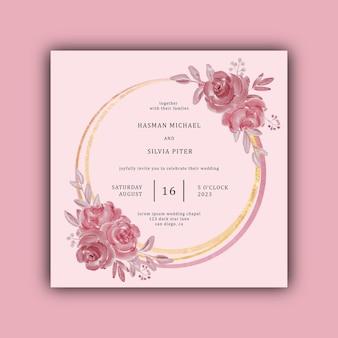 Convite de casamento com flores em aquarela e moldura de ouro