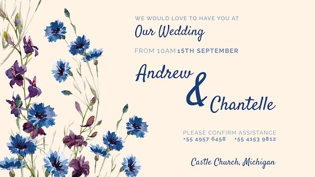 Convite de casamento com flores roxas e azuis