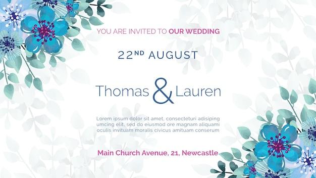 Convite de casamento com moldura de flores azuis