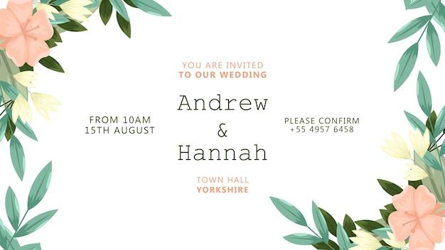 Convite de casamento com moldura de flores