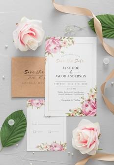 Convite de casamento com plantas