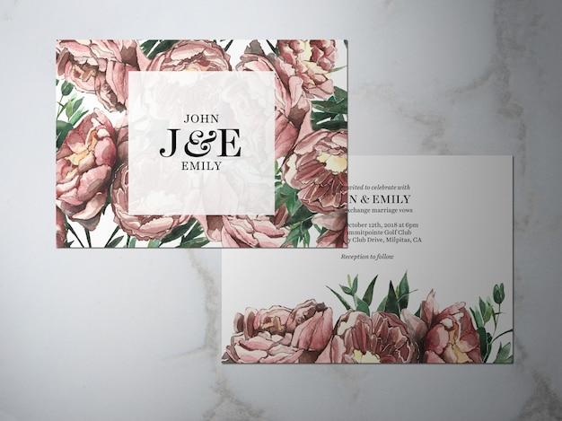 Convite de casamento, convite de tema rosa flor duas-faces