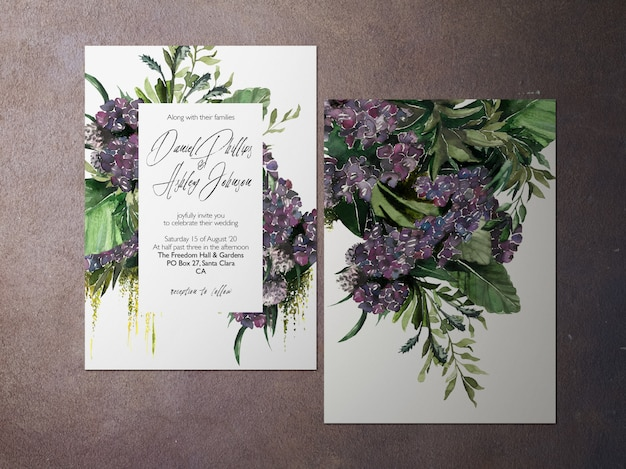 Convite de casamento, convite roxo do tema da flor de duas caras
