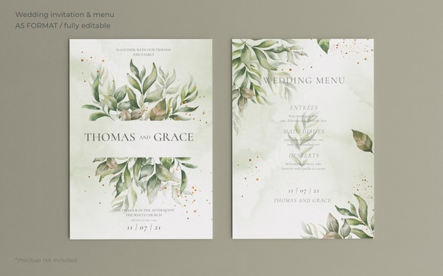 Convite de casamento e modelo de menu com lindas folhas