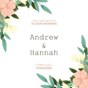 Convite de casamento elegante com flores cor de rosa