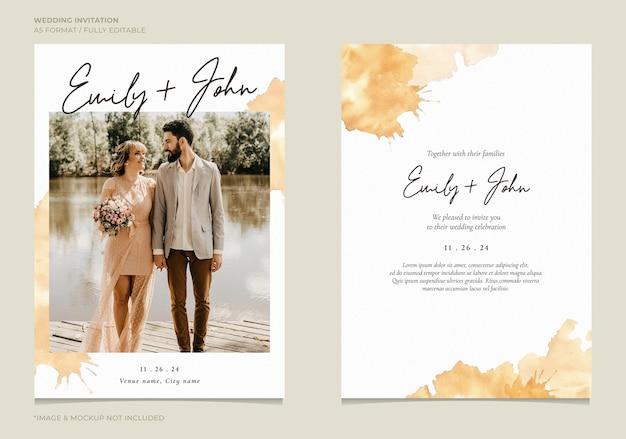 Convite de casamento elegante com fundo aquarela abstrato