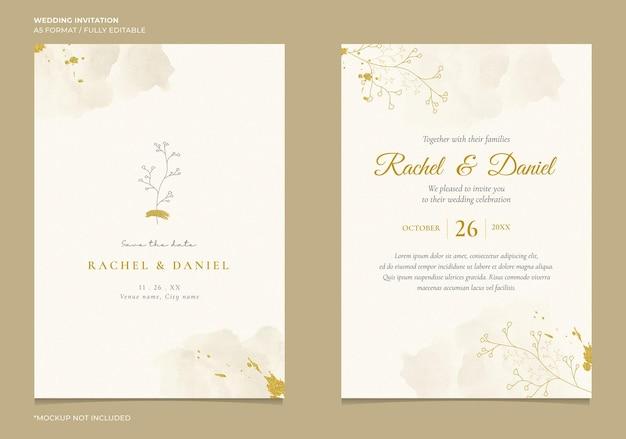 Convite de casamento elegante com ilustração de linha botânica e aquarela abstrata