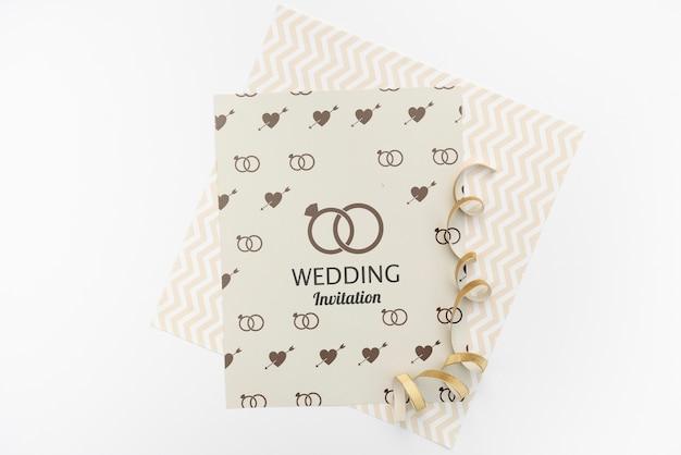 Convite de casamento elegante com maquete