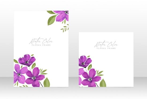Convite de casamento feminino floral em aquarela - cartão com moldura botânica
