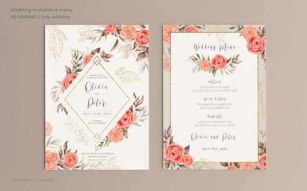 Convite de casamento floral e modelo de menu com natureza suave