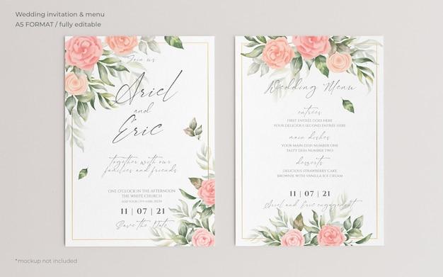 Convite de casamento floral e modelo de menu