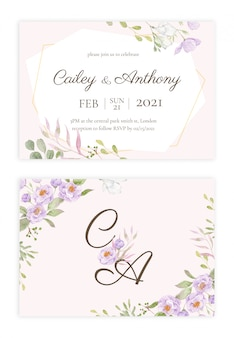 Convite de casamento floral handdrawn