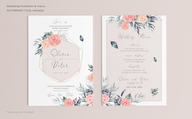 Convite de casamento floral suave e modelo de menu