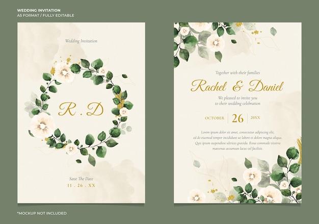 Convite de casamento mínimo com aquarela floral