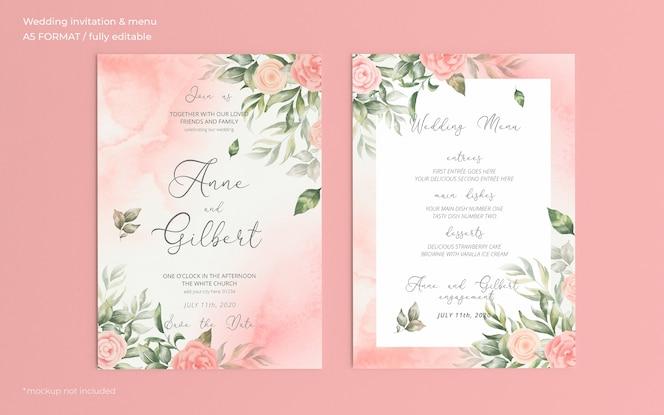 Convite de casamento romântico em aquarela e modelo de menu