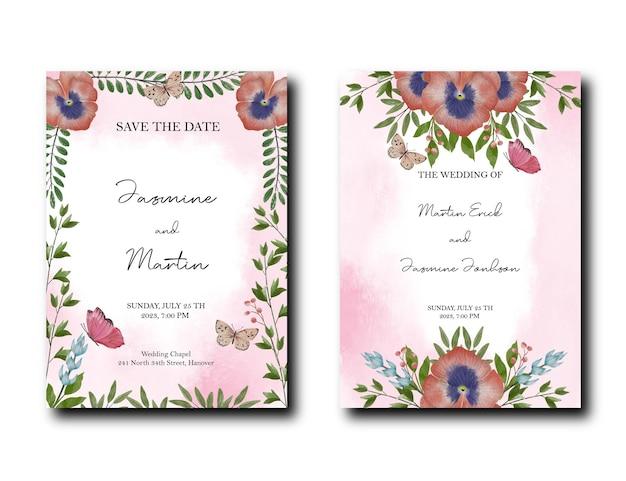 Convite de design de flores de papoula com folhas florais e fundo de efeito de respingo