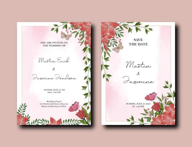 Convite de design de flores de tulipa e lírio com fundo de efeito de respingo