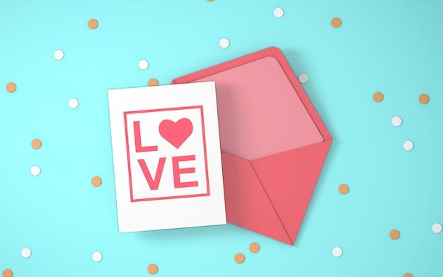 Convite de envelope do dia dos namorados
