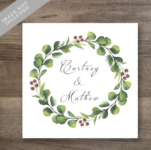 Convite floral do casamento da grinalda da aguarela