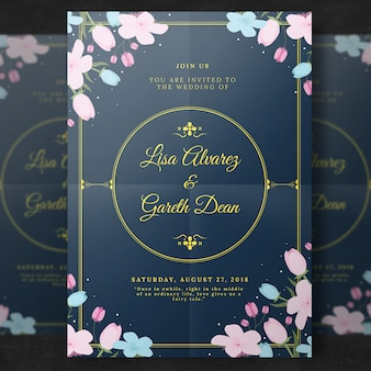 Convite floral elegante do casamento