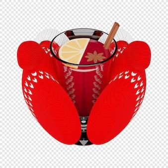 Copo 3d de vinho quente em mitenes vermelhas de malha ilustração 3d isolada