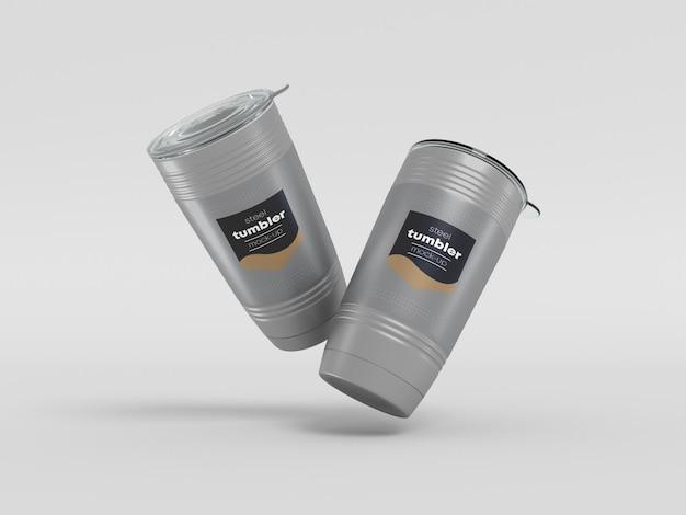 Copo de aço com maquete de tampa