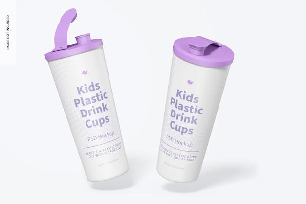Copo de bebida de plástico infantil com tampa maquete, caindo