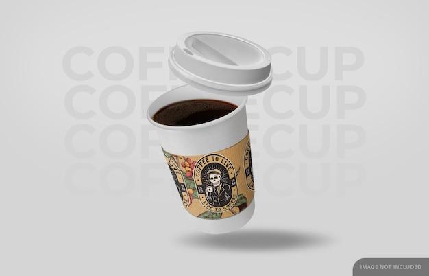 Copo de café branco para levar com maquete de tampa branca