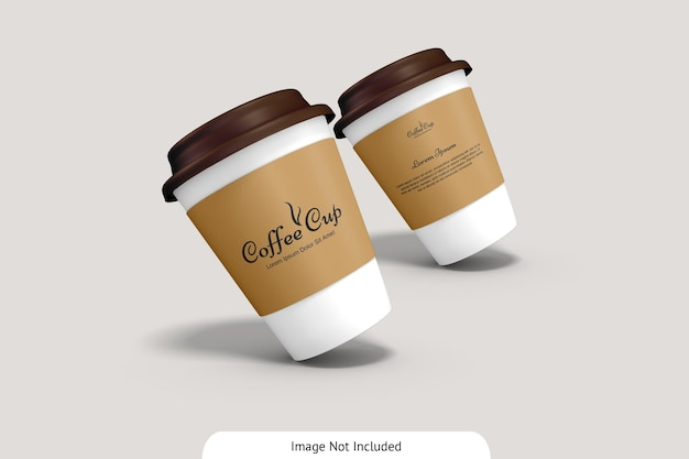 Copo de café com maquete de papelão