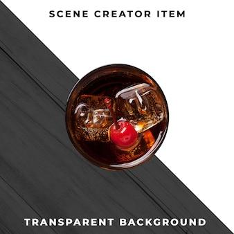Copo de cocktail em fundo transparente