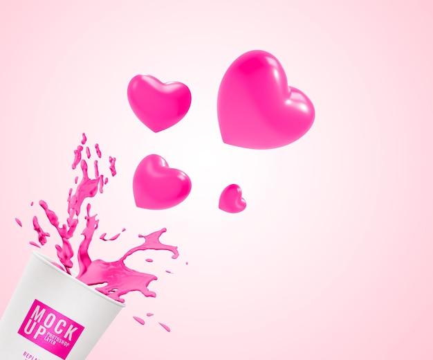 Copo de maquete de água rosa