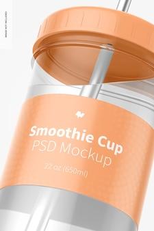 Copo de smoothie com tampa maquete, close-up