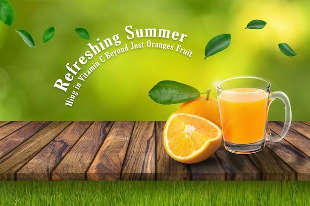 Copo de suco de laranja e laranjas