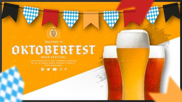 Copos de cerveja oktoberfest com festão