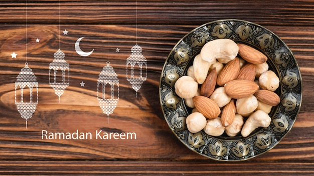 Copyspace maquete com conceito de ramadan