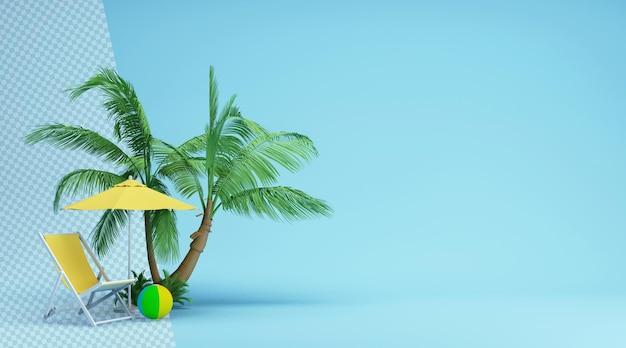 Coqueiros com espreguiçadeira em renderização 3d