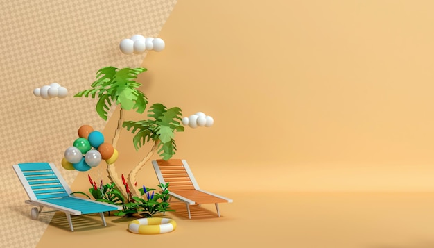 Coqueiros com espreguiçadeiras coloridas em renderização 3d