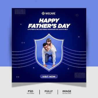 Cor azul dia dos pais social media post banner
