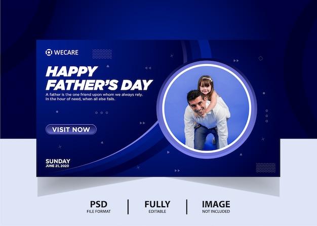 Cor azul gradiente dia dos pais web banner design