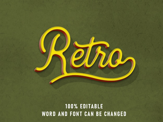 Cor da fonte editável do efeito de estilo de texto retrô com estilo de textura de papel vintage