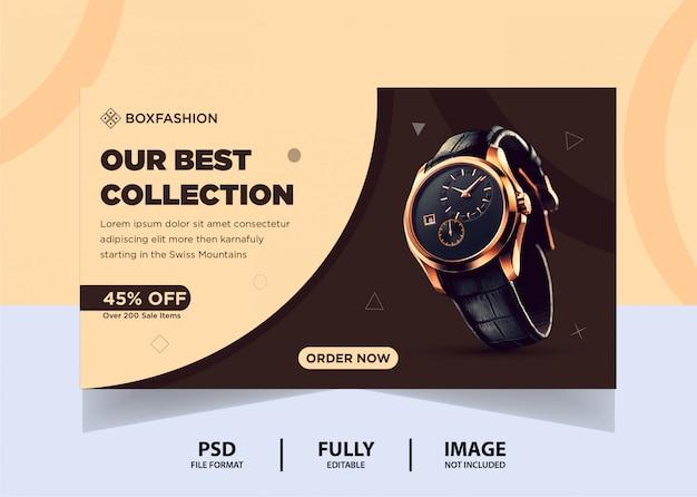 Cor de chocolate assista produto web banner design