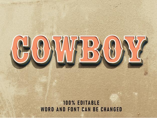Cor de efeito de estilo vintage de texto de vaqueiro com estilo grunge retrô