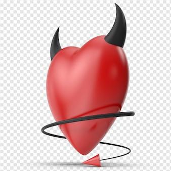 Coração 3d bonito e mau com chifre preto vista lateral