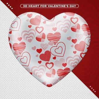 Coração 3d vermelho e branco para o dia dos namorados