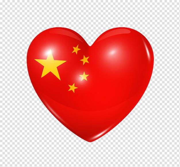 Coração com bandeira da china