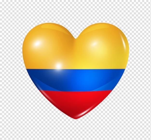 Coração com bandeira da colômbia