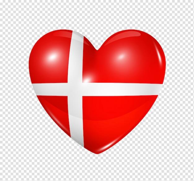 Coração com bandeira da dinamarca