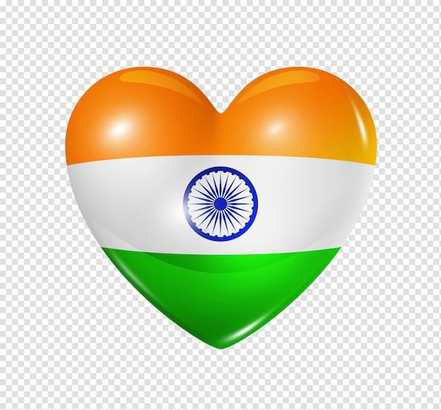 Coração com bandeira da índia
