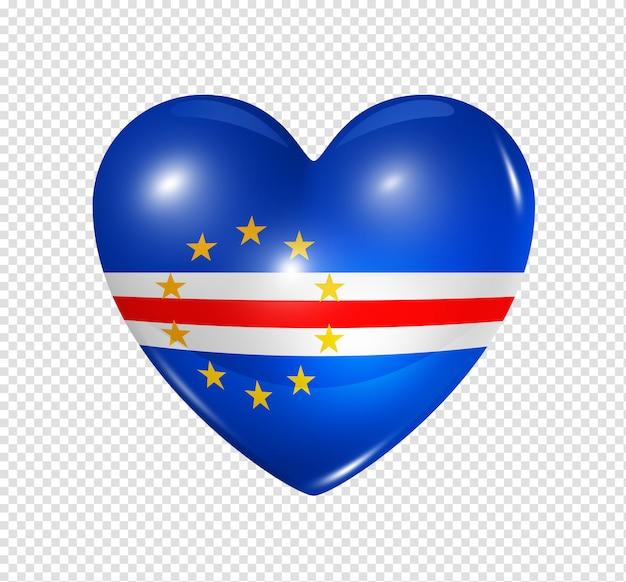 Coração com bandeira de cabo verde